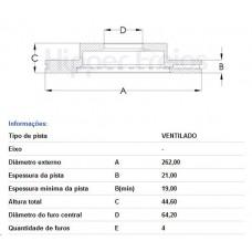DISCO FREIO DIANTEIRO HIPERFREIOS   (CITY 2009  ATÉ 2014) (CIVIC 2001  ATÉ 2007) (CIVIC 1993  ATÉ 2000) (CIVIC SEDAN 1991  ATÉ 1995) (FIT 2009  ATÉ 2014)