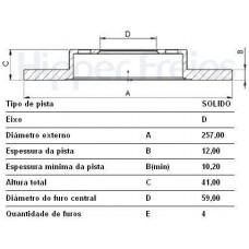 DISCO FREIO DIANTEIRO HIPERFREIOS   (145 1994  ATÉ 1996) (GRAND SIENA 2012 EM DIANTE)  (PALIO/ 2012 EM DIANTE)  (UNO MILLE WAY 2010 EM DIANTE)