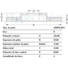 PAR DE DISCO FREIO DIANTEIRO (VENTILADO) HIPERFREIOS   (CORSA GSI 1993  ATÉ 1996) (TIGRA 1994  ATÉ 1998)