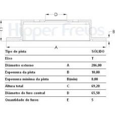 DISCO FREIO TRASEIRO HIPERFREIOS   (ASTRA 1999 EM DIANTE)  (VECTRA 1997 EM DIANTE)  (ZAFIRA 2001 EM DIANTE)