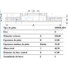 DISCO FREIO DIANTEIRO HIPERFREIOS   (CLASSE A160 1999  ATÉ 2005) (CLASSE A190 2001  ATÉ 2005)