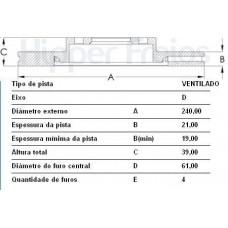 DISCO FREIO DIANTEIRO HIPERFREIOS   (FIT 2003  ATÉ 2008)