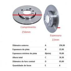 DISCO FREIO DIANTEIRO HIPERFREIOS   (GOL/ G6 2012 EM DIANTE)  (VOYAGE 2013 EM DIANTE)  (VW UP! 2014 EM DIANTE)