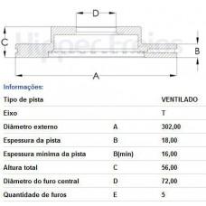 PAR DE DISCO FREIO TRASEIRO (VENTILADO) HIPERFREIOS   (EDGE 2006  ATÉ 2010)
