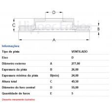 DISCO FREIO DIANTEIRO HIPERFREIOS   (COROLLA 03/2014  ATÉ 08/2019)