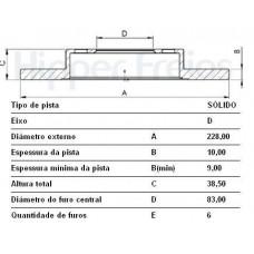 DISCO FREIO DIANTEIRO HIPERFREIOS   (BELINA 1975  ATÉ 1982) (CORCEL 1973  ATÉ 1983) (DEL REY 1981  ATÉ 1983) (PAMPA 1982  ATÉ 1989)