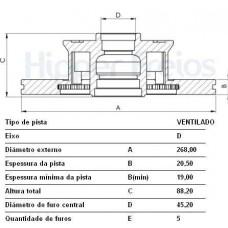 DISCO FREIO DIANTEIRO HIPERFREIOS   (CARAVAN 1981  ATÉ 1992) (DIPLOMATA 1981  ATÉ 1992) (OPALA 1981  ATÉ 1992)