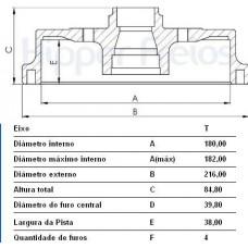 TAMBOR FREIO TRASEIRO MDS   (CELTA 2003 EM DIANTE)  (PRISMA 2006 EM DIANTE)
