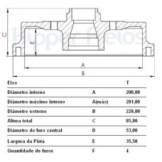 TAMBOR FREIO TRASEIRO (C/CUBO) MDS   (CORSA 2002 EM DIANTE)  (CORSA 2002 EM DIANTE)