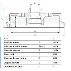 TAMBOR FREIO TRASEIRO (C/CUBO) MDS   (COURIER 1999 EM DIANTE)  (ECOSPORT 1999 EM DIANTE)  (FIESTA 2002 EM DIANTE)  (FOCUS 2000  ATÉ 2007)