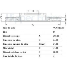 DISCO FREIO DIANTEIRO HIPERFREIOS   (ASTRA 1999  ATÉ 2011) (ESPERO 1995 EM DIANTE)  (VECTRA 1999  ATÉ 2005)