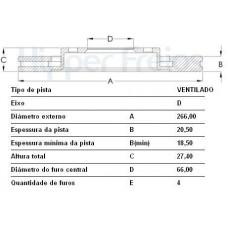 DISCO FREIO DIANTEIRO MDS   (206 2000 EM DIANTE)  (306 ATÉ 2001) (405 1992  ATÉ 1996) (BERLINGO 1996  ATÉ 2002) (PARTNER 1996 EM DIANTE)  (XSARA PICASSO 2000 EM DIANTE)
