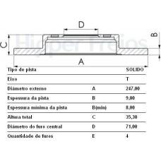 DISCO FREIO TRASEIRO VARGA/TRW   (307 2001 EM DIANTE)  (BERLINGO 2005  ATÉ 2007) (C3 2002 EM DIANTE)  (C4 PALLAS 2007 EM DIANTE)