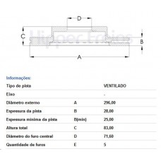 DISCO FREIO DIANTEIRO FREMAX   (OMEGA 2005  ATÉ 2007) (OMEGA AUSTRALIANO 1998  ATÉ 2004)