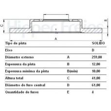 PAR DE DISCO FREIO DIANTEIRO (SOLIDO) MDS   (CLIO 2008  ATÉ 2016) (LOGAN 10/2007  ATÉ 2013) (SANDERO 2007  ATÉ 2013)
