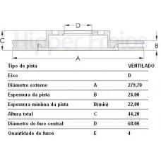 DISCO FREIO DIANTEIRO (SEM CUBO) MDS   (SENTRA 2007 EM DIANTE)  (VERSA 2007 EM DIANTE)